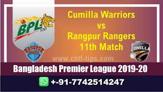 Who will win Today BPL T20, 11th Match Rangpur vs Comila - Cricfrog