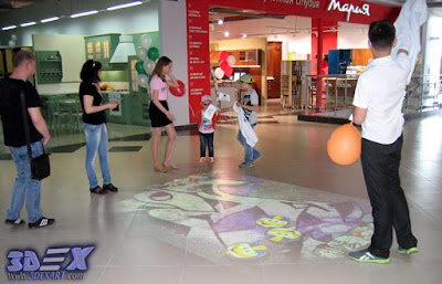interactive floor projector, live system in the mall flooring
