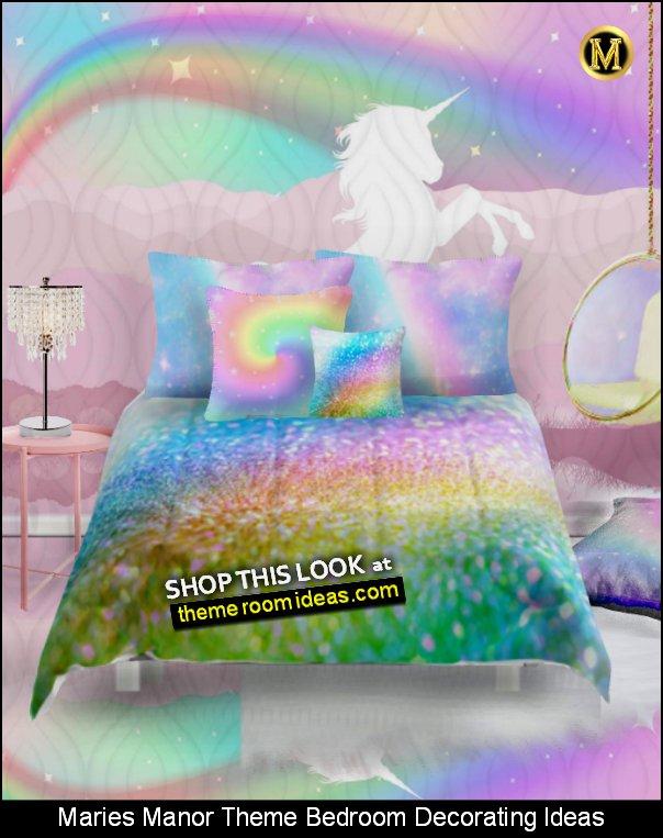 Rainbow and Stars mural Rainbow glitter Comforters Rainbow Glitter Throw Pillow RAINBOW BEDDING