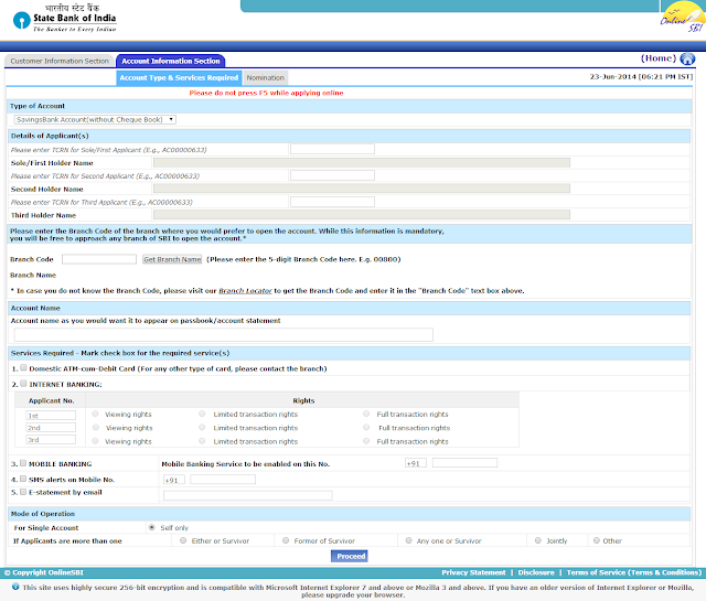 Registering SBI New Account Application