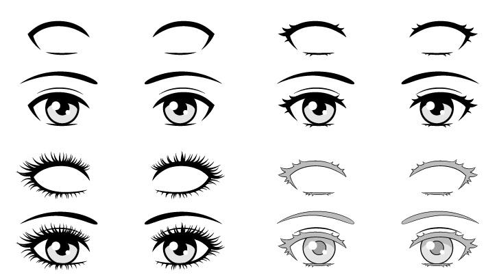 Bulu mata anime menggambar gaya yang berbeda