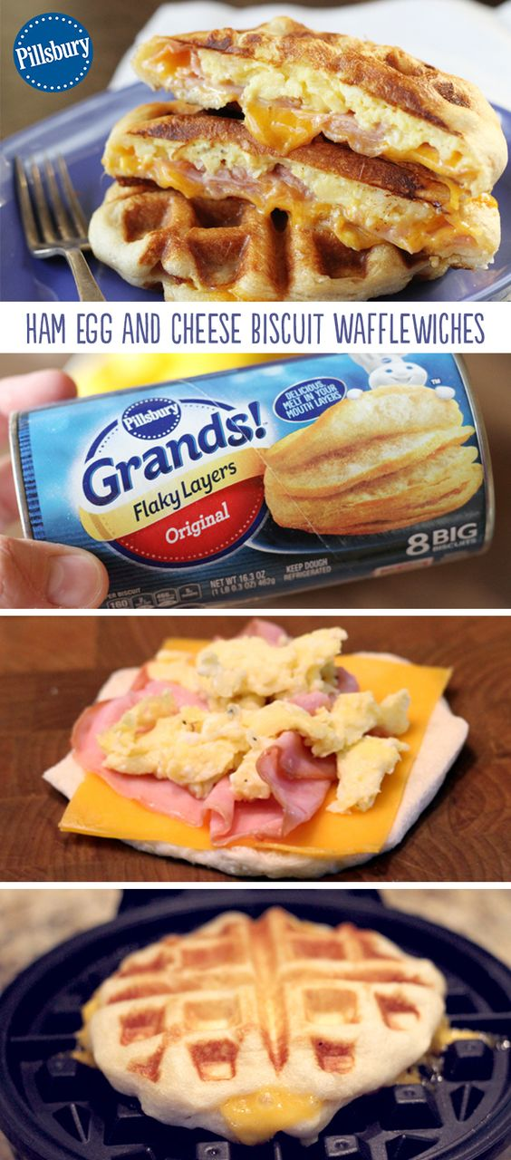 Ham, Egg, and Cheese Biscuit Wafflewiches #ham #egg #cheese #biscuit #wafflewiches #easyrecipes