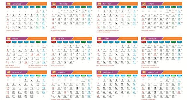 Desain Kalender 2021 Lengkap dengan Penanggalan Hijriyah dan Jawa