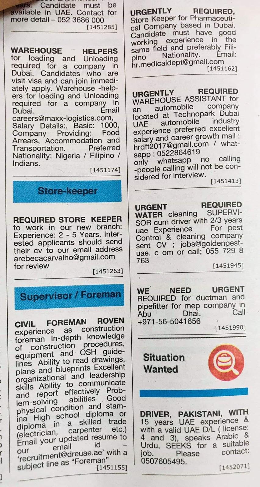 Jobs Vacancies for UAE Local Hiring Jobs Khaleej Times-UAE
