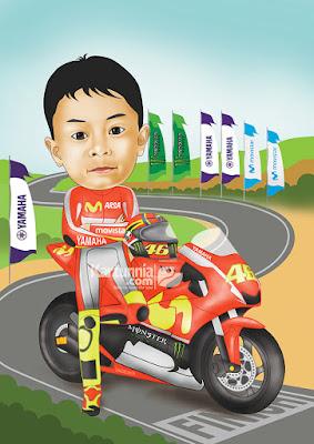 Karikatur Anak Naik Mobil Balap