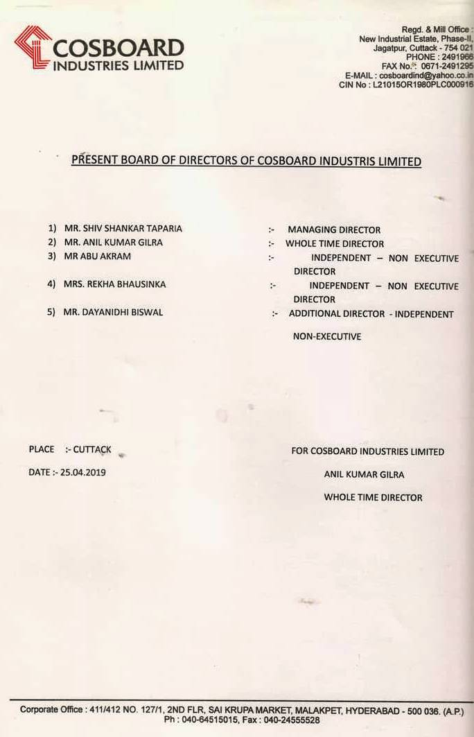Board Of Director Cosboard Industries Limited