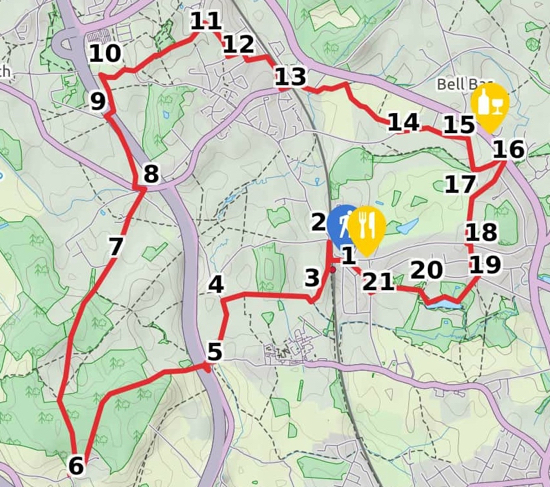 Map for Walk 22: The North Mymms Way created by David Brewer using elements copyright of MapHub and Thunderforest
