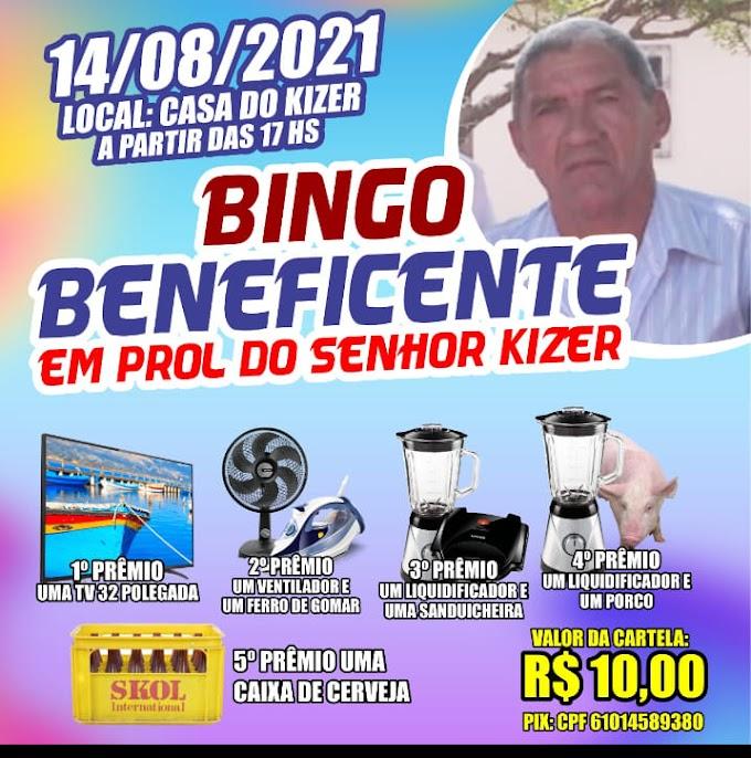 Bingo Beneficiente em prol do senhor Kizer  hoje 14 de agosto de 2021.