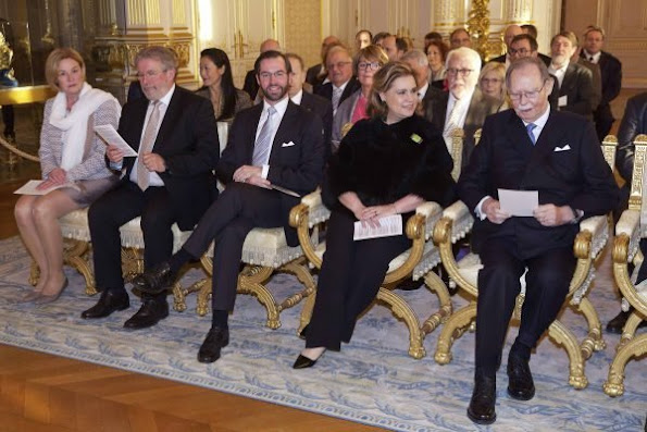 Grand Duke Henri and Grand Duchess Maria Teresa of Luxembourg, former Grand Duke Jean, Hereditary Grand Duke Guillaume and his wife Duchess Stéphanie of Luxembourg