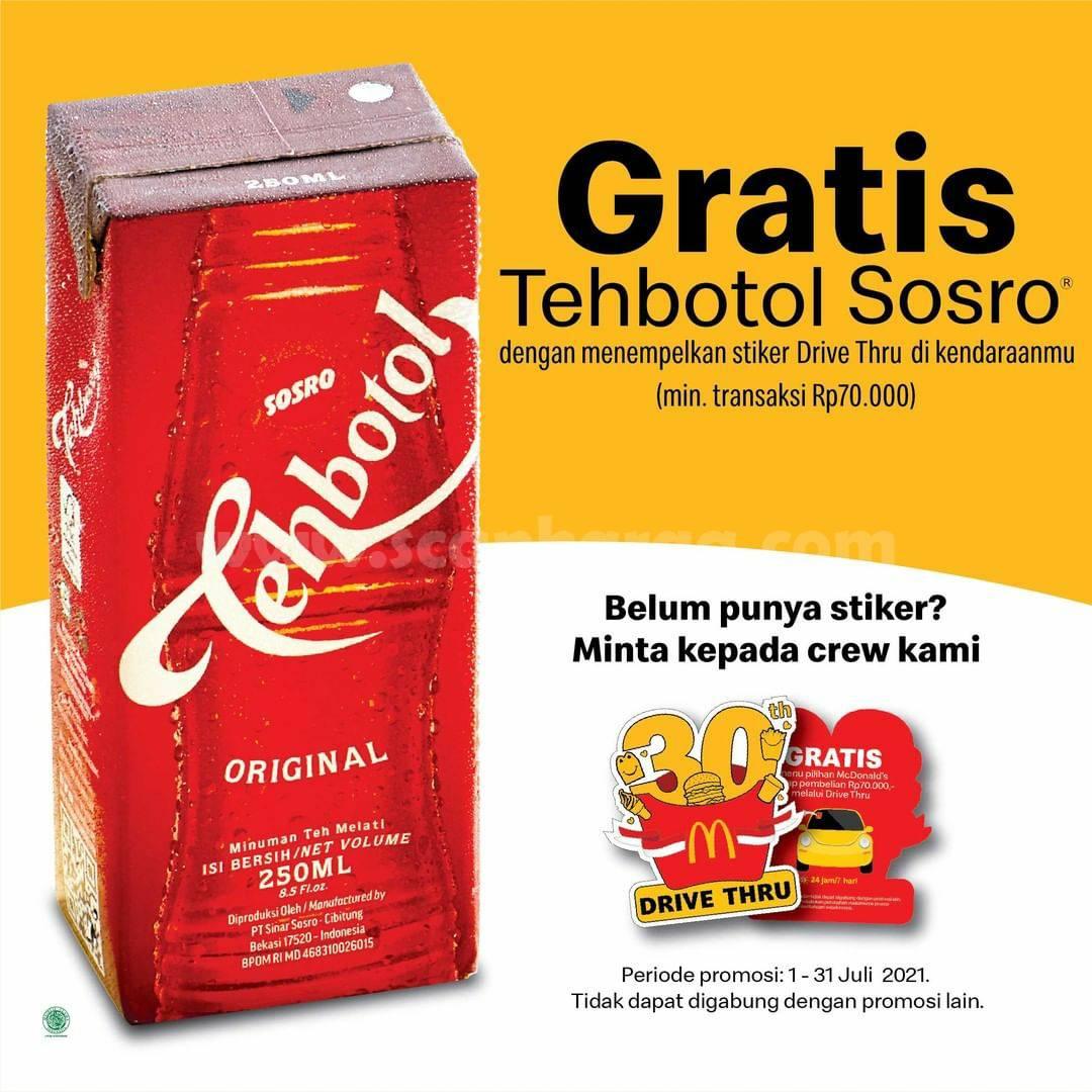 McDonalds Promo Gratis TehBotol Sosro (Pasang Stiker Drive Thru)