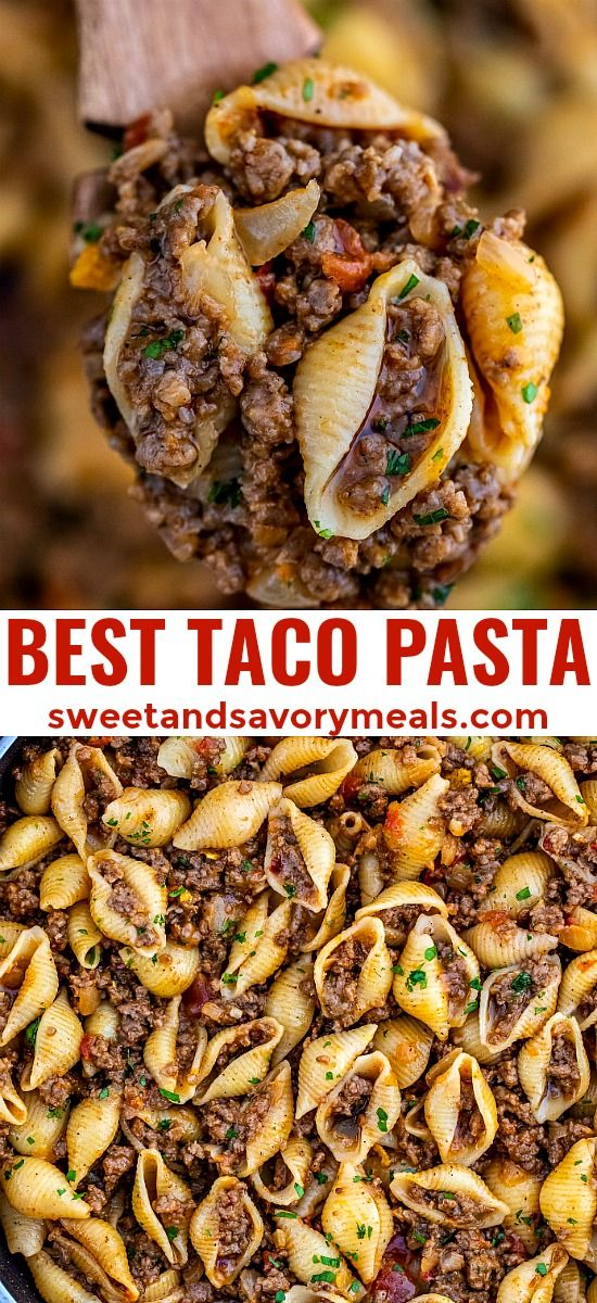Taco Pasta makes for a cheesy and meaty dinner option that is easy to prepare! It is a runaway winner in my household, and it only takes 30 minutes to make! #tacopasta #pasta #mexicanfood #easyrecipe #dinnerideas #sweetandsavorymeals