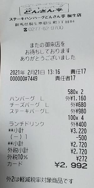 ステーキ・ハンバーグどんさん亭 桐生店 2021/2/21 飲食のレシート