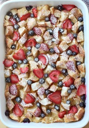 Moist on the inside, slightly crusty on the top, this french toast casserole is topped with loads of fresh berries. Serve with powdered sugar and maple syrup. Make ahead and pop into the oven whenever you are ready to eat it! Super easy!