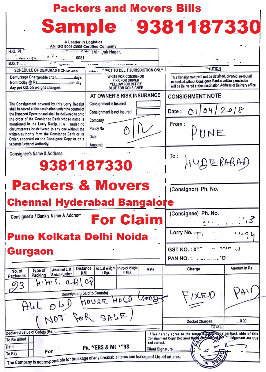 lorry receipt packers and movers bill consignor copy