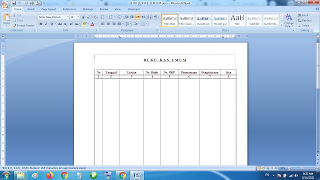 Download Contoh Buku Kas Umum Kepala Sekolah Dasar doc