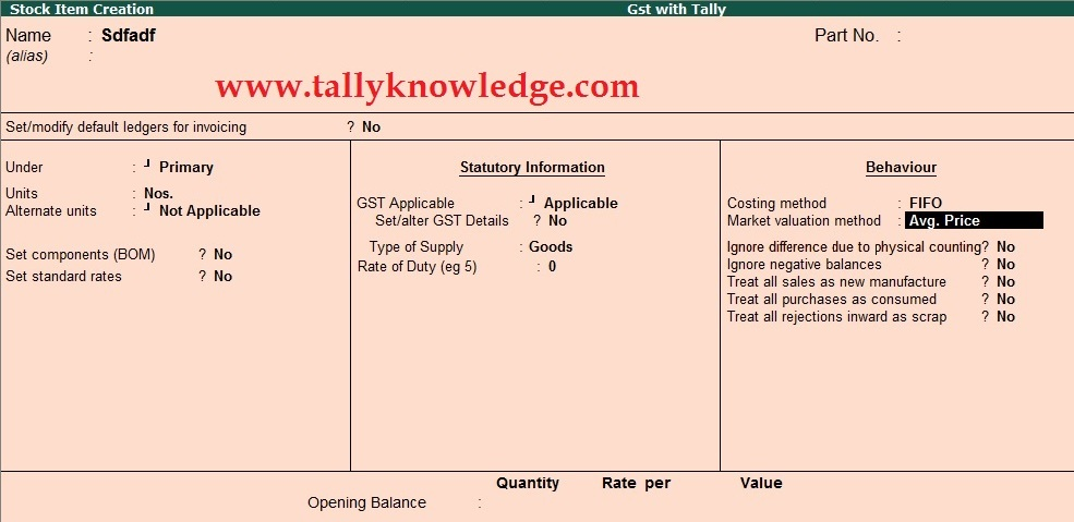 How to Show Advanced Master for Stock Item for GST Calculation?
