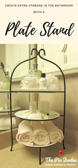 Create extra storage on a bathroom vanity with a plate stand.  Great for small bathrooms - its both pretty and functional!