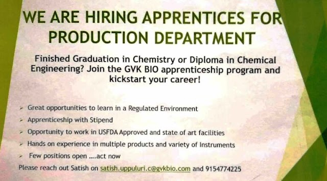 GVK Bio | Apprentice opportunity for Freshers at Hyderabad | Send CV