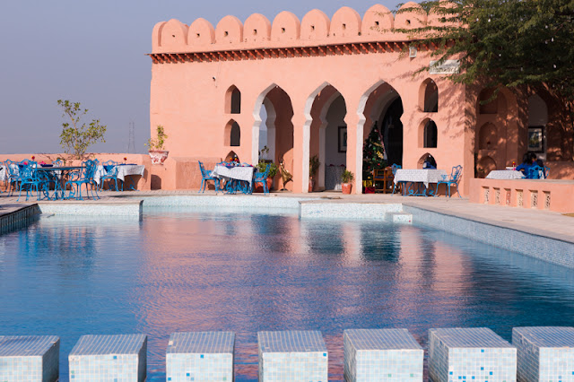 Kesroli Hill Fort Swimming Pool and Restaurant in Alwar Rajasthan India by the Neemrana Hotels