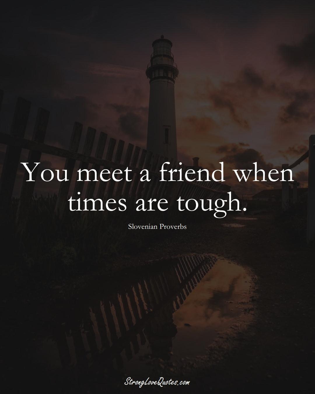 You meet a friend when times are tough. (Slovenian Sayings);  #EuropeanSayings