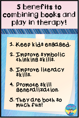 5 benefits to combining books and play in speech/language therapy.