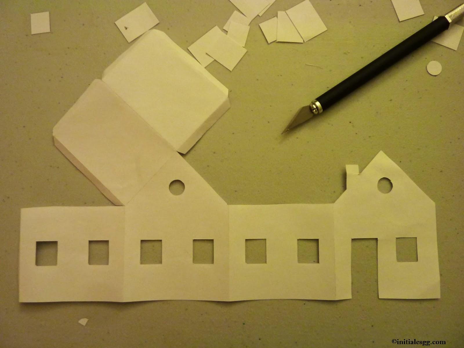 diy un village en papier lumineux initiales gg. Black Bedroom Furniture Sets. Home Design Ideas