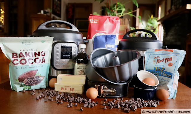 image of Instant Pots with ingredients to make desserts