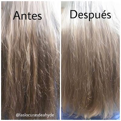mi cabello antes y despues de usar Elizavecca CER-100 Hair Muscle Essence Oil