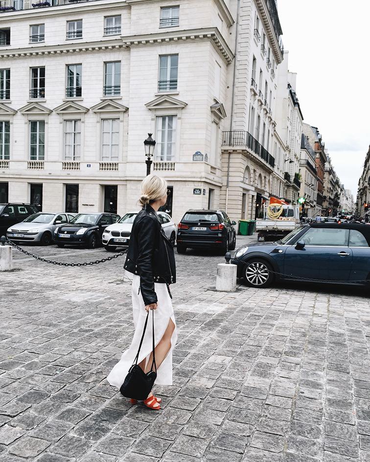 Cienne New York Frankie Dress, Marais USA Jardin Heels, BLK DNM leather jacket, Helene Heath in Paris