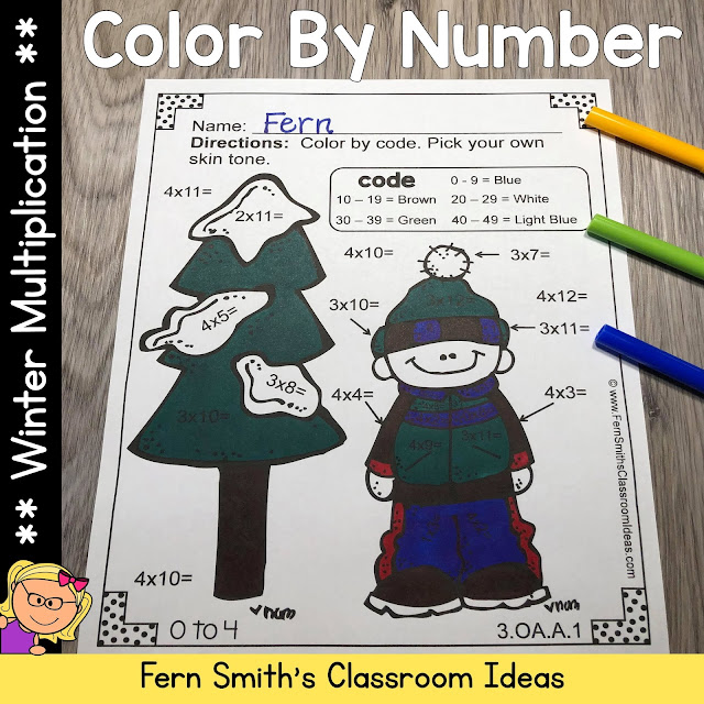 Winter Color By Number Multiplication Winter Themed Printables #FernSmithsClassroomIdeas