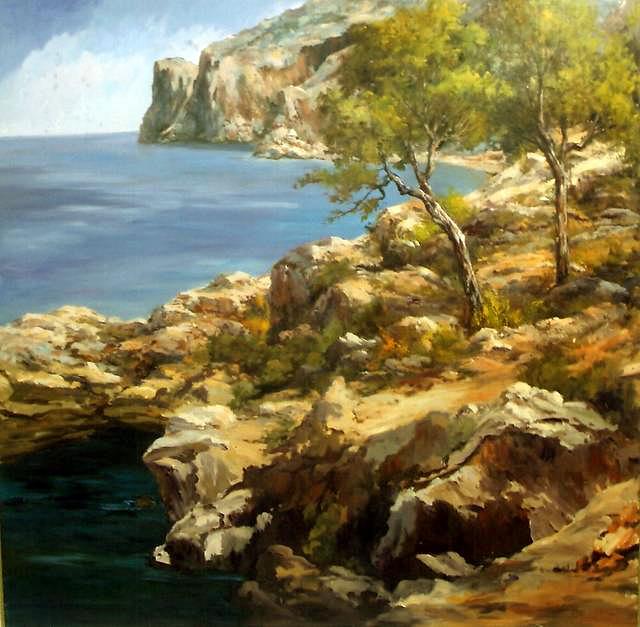 Basilio Escudero Serrano, Costa de Deiá, Mallorca en Pintura, Mallorca pintada, Paisajes de Mallorca, Mallorca en Pintura