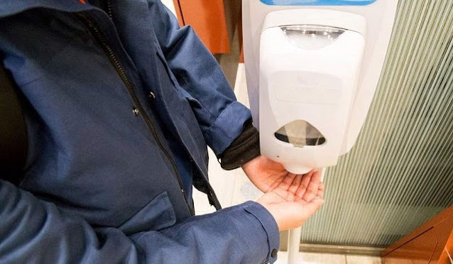 business benefits hand sanitizer station in company