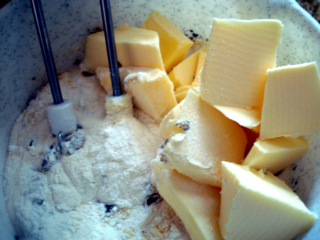 butter and egg in the poppy seed mixture