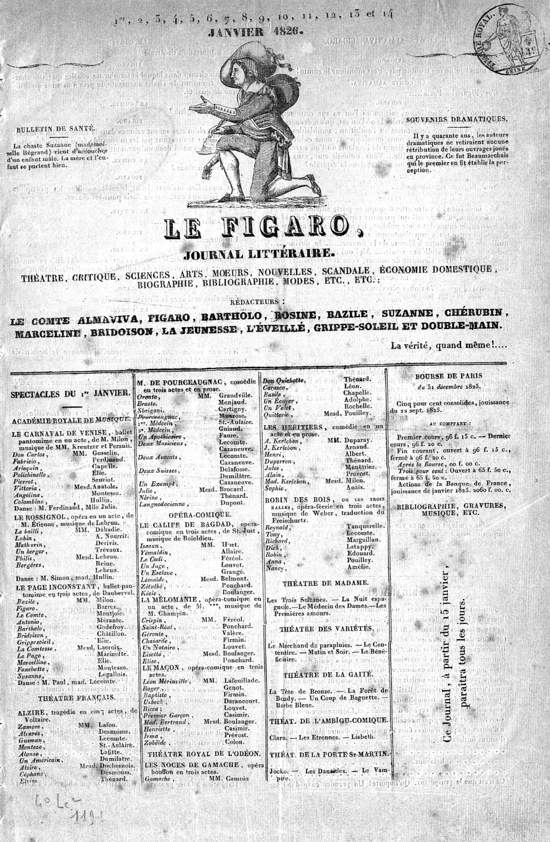 Le Figaro, front page of the first issue 1826