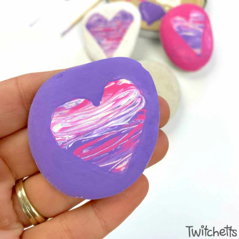 Valentine's Day painted rock craft for preschool