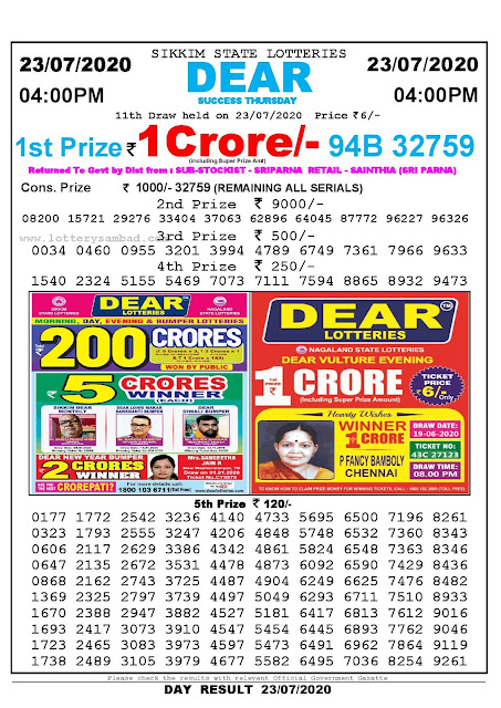 Sikkim State Lotteries 23-07-2020 Lottery Sambad Result 04:00 PM