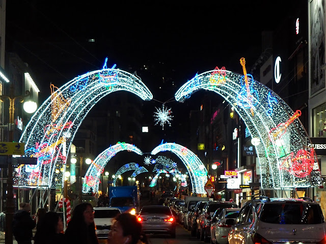 Arches over the street - Christmas lights in Nampo, Busan, South Korea