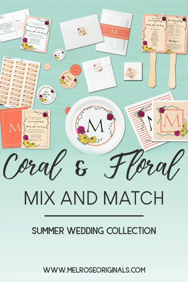 wedding collection featuring hand painted watercolor florals, stripes, and solids to mix and match