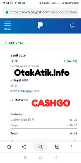 Bukti pembayaran or payment proof Cash GO