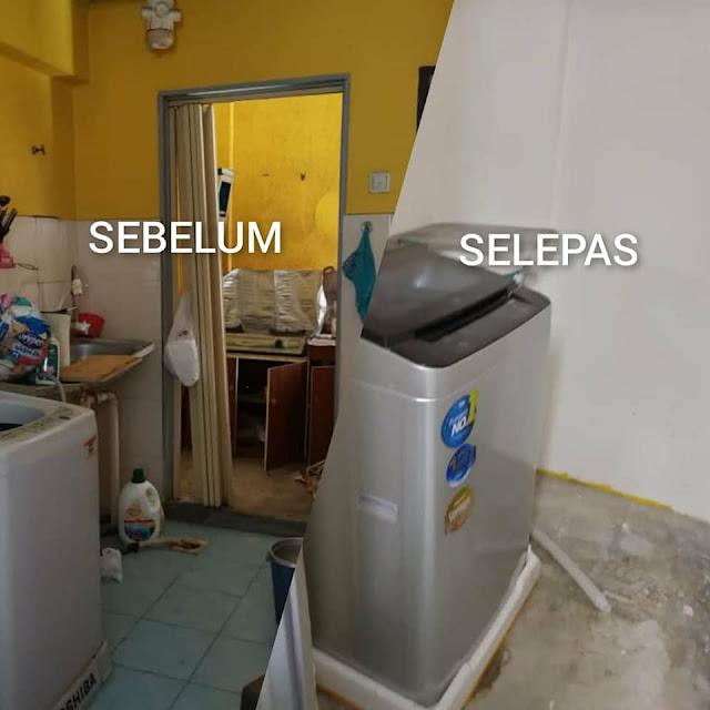 Kawasan dapur rumah lelong sebelum dan selepas