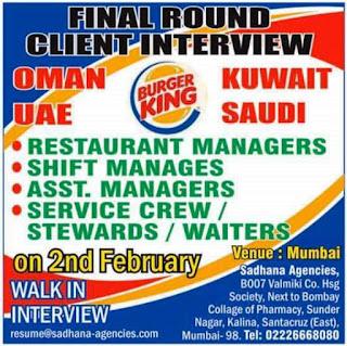 Burger King Required for Oman UAE Kuwait Saudi