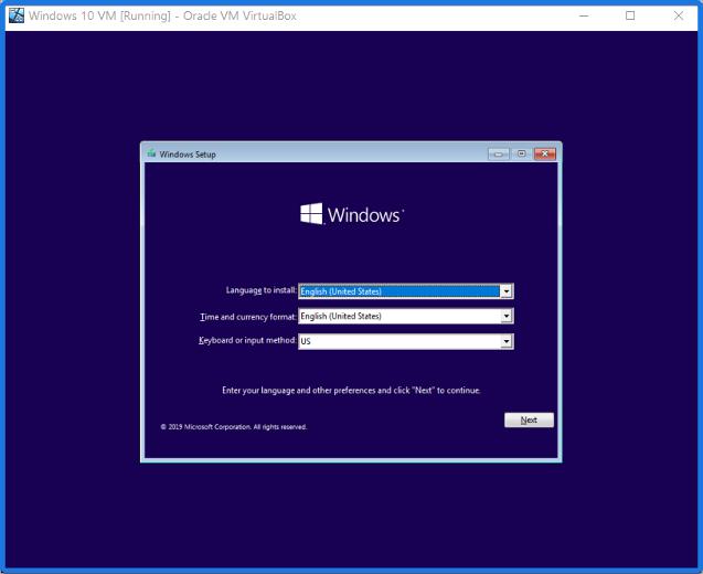 Windows 10 Running on VirtualBox