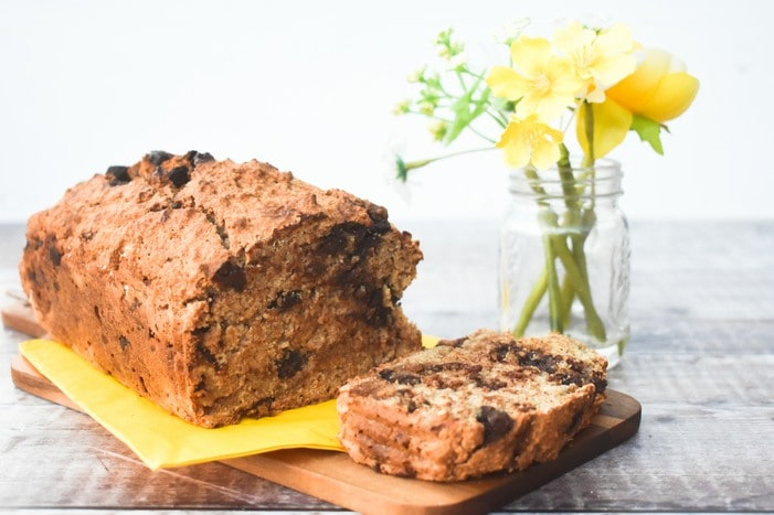 Homemade Oat Flour Banana Bread with Chocolate Chips