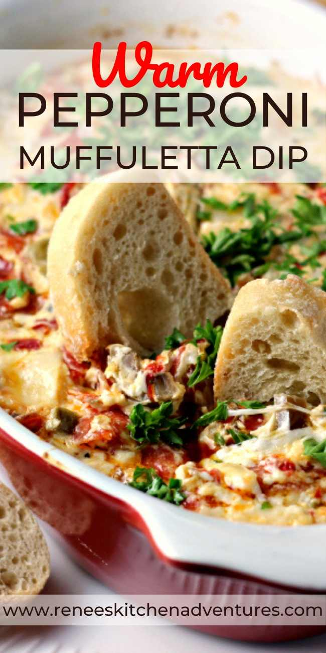 Hot Pepperoni Muffuletta Dip pin for Pinterest with close up of dip with bread dippers inside of it.