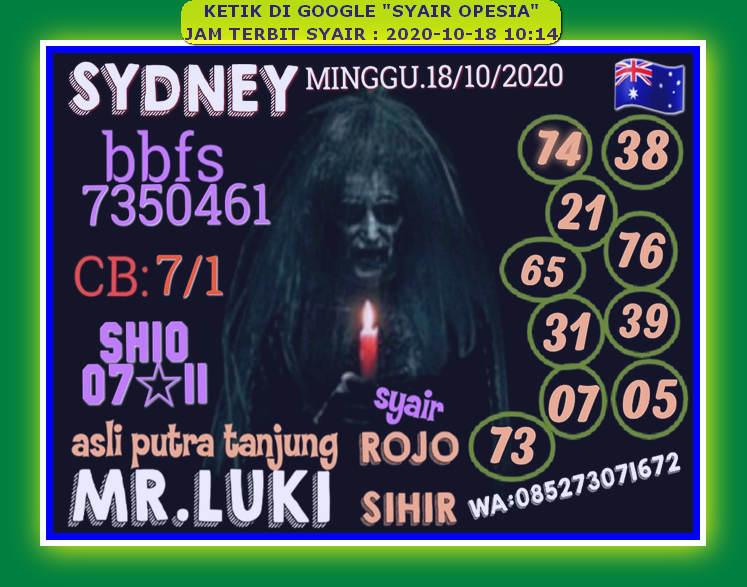 Kode syair Sydney Minggu 18 Oktober 2020 79