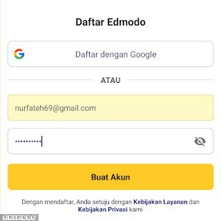 mendaftar dengan email dan password