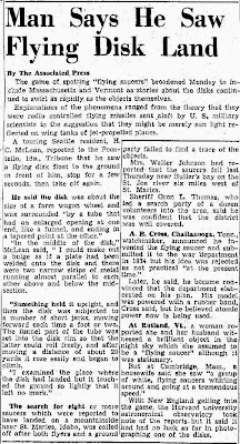 Man Says He Saw Flying Disk Land - Hutchinson News-Herald 7-8-1947