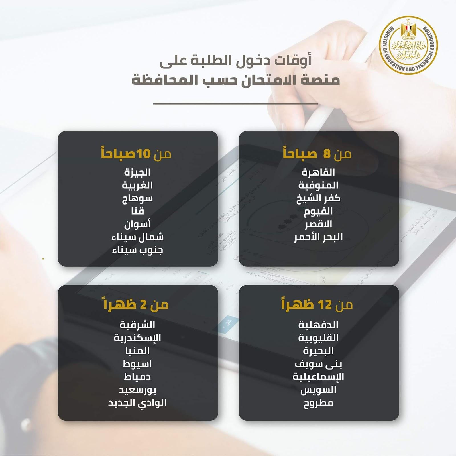 جدول الامتحان التجريبى للصف الأول الثانوي ابريل 2020 assessment.ekb.eg