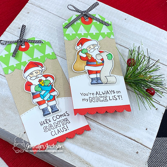 Santa Tags by Jennifer Jackson | Dear Santa Stamp Set, Tiny Trees Stencil and Fancy Edges Tag Die Set by Newton's Nook Designs #newtonsnook