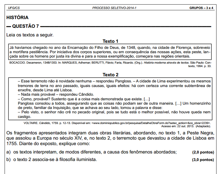resolução da prova história 2ª fase uf goiás vestib  2014